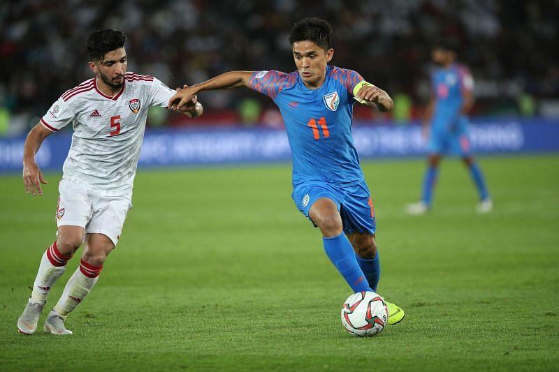 Sunil Chhetri in attack against UAE.