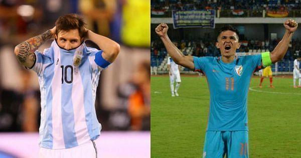 Sunil Chhetri has overtaken Lionel Messi in the active international goalscorers