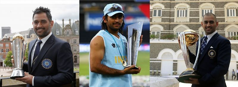 Dhoni with three trophies