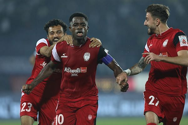 Ogbeche's goal in the dying moments proved to be the difference between the two sides (Image Courtesy: ISL)