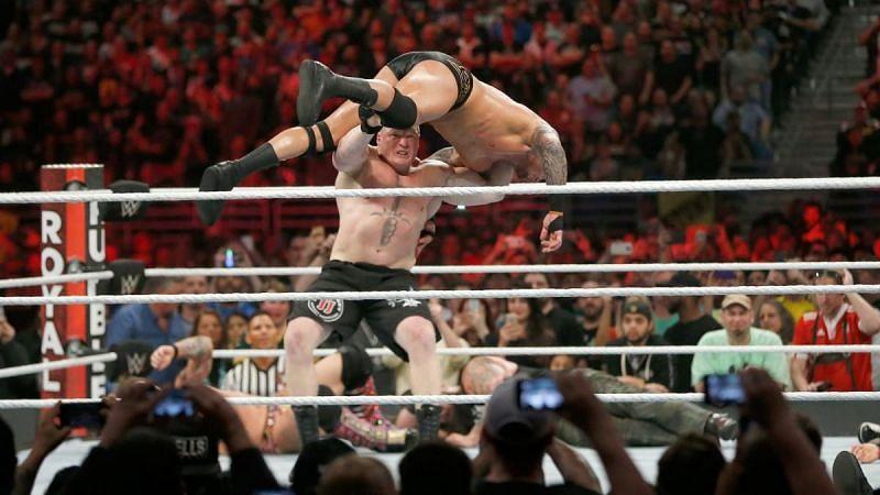 Brock Lesnar hitting Randy Orton with an F-5 at the 2017 Royal Rumble