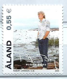 STAMP ON BJORN BORG ISSUED BY ALAND ISLANDS