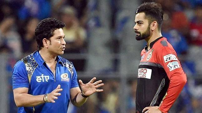 Sachin Tendulkar and Virat Kohli during IPL
