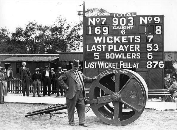 A scoreboard in olden times