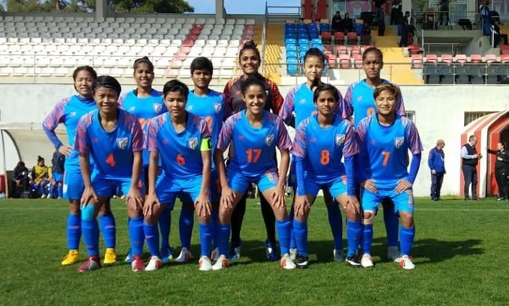The Starting XI of the Indian women football