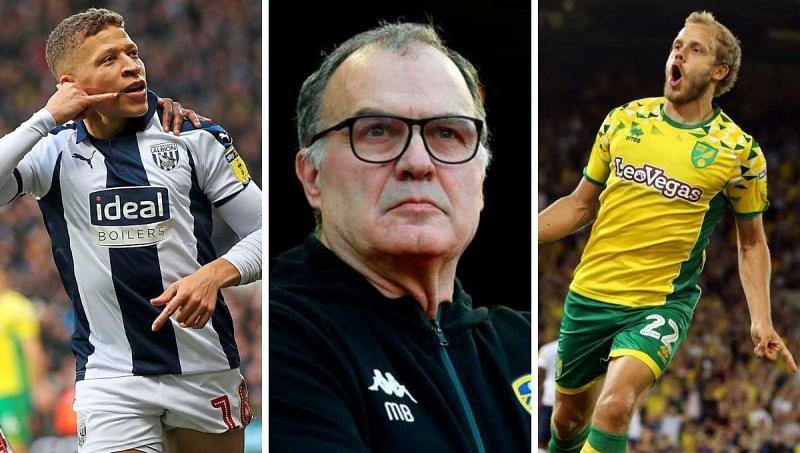 (Left to right): Dwight Gayle (WBA), Marcelo Bielsa (Leeds), Teemu Pukki (Norwich City)