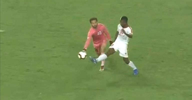 The Aizawl FC forward wins the ball (Credit - Hotstar) The ball is inches away from crossing the line (Credits- Hotstar)