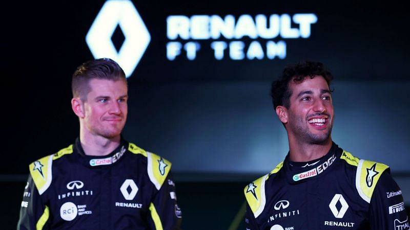 Red Bull drivers Daniel Ricciardo (right) and Nico Hülkenberg