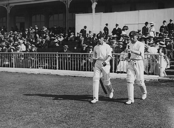 CP Mead(on the right) walks out to bat with Jack Hobbs