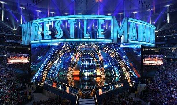 The shining blue WrestleMania sign was a piece of art