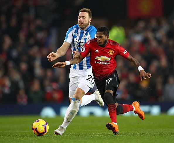 Fred in action against Huddersfield Town