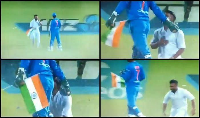 Dhoni Takes National Flag