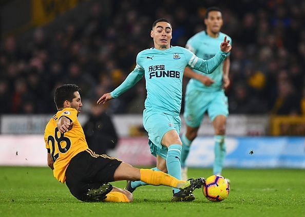 Miguel Almiron in action against Wolves in his Premier League debut for Newcastle United