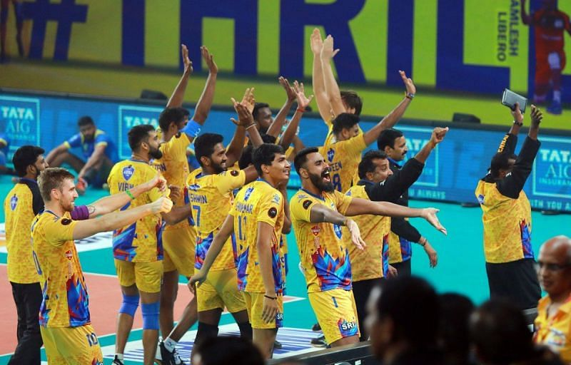 Chennai Spartans celebrate after the win