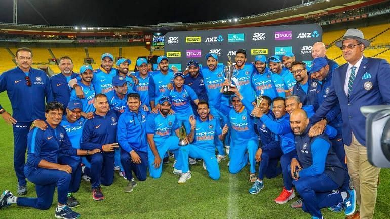 The Indian team after winning the ODI series against the Kiwis in 2019