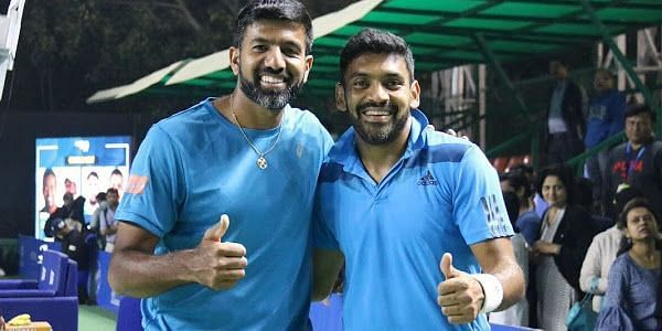 Bopanna (left) and Sharan gave the only point for India