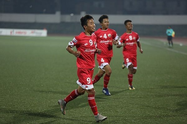 Samuel Lalmuanpuia of Shillong Lajong in action against Churchill Brothers