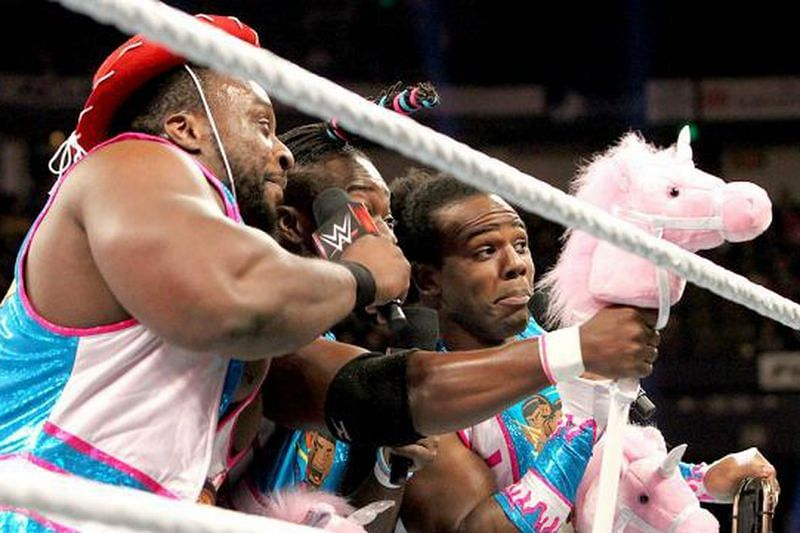 The New Day--Xavier Woods, Big E Langston, and Kofi Kingston