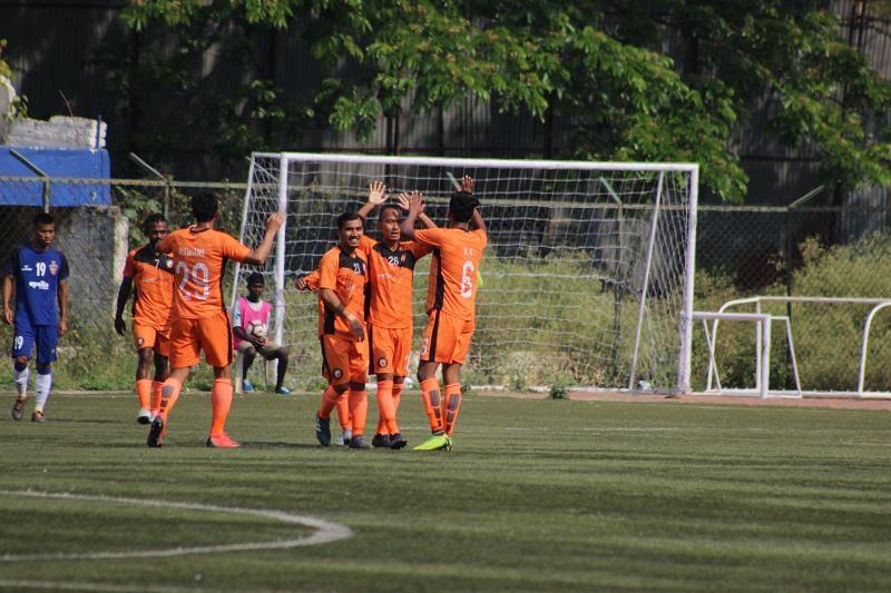 South United FC celebrate their goal