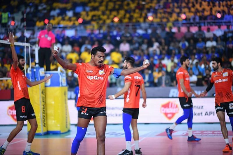 Deepesh Sinha celebrates a point