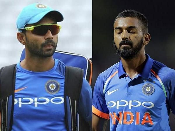 Image result for rahane and kl rahul playing
