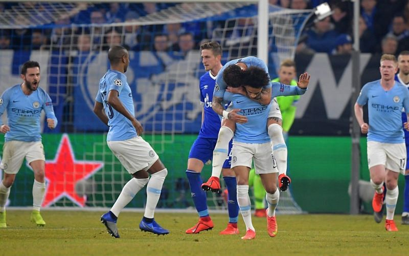 Sane after scoring a free-kick in the first leg
