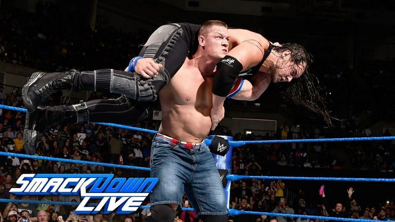 Cena feuded with Baron Corbin in 2017, which saw Cena cost the Lone Wolf his Money in the Bank cash-in.