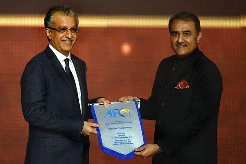 AIFF chief Praful Patel (right) with the AFC president Shaikh Salman bin Ebrahim Al Khalifa