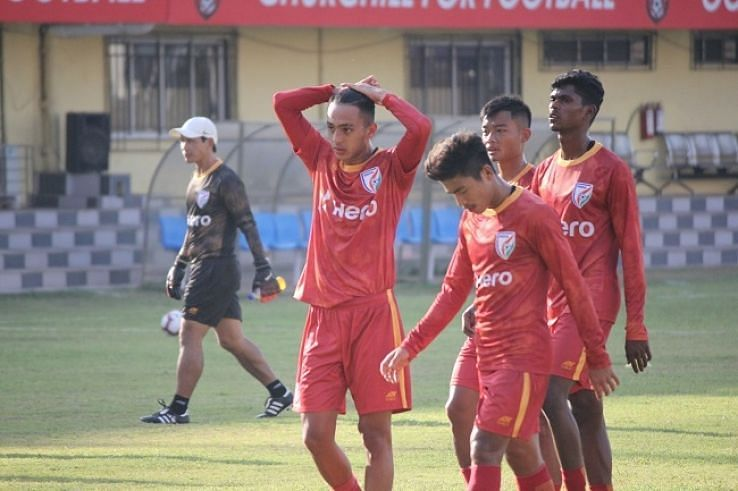National team players at the India U-23 camp in Goa