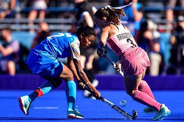 Salima in action at the YOG final against Argentina