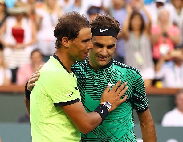 Rafael Nadal (L) and Roger Federer after their 2017 match at Indian Wells