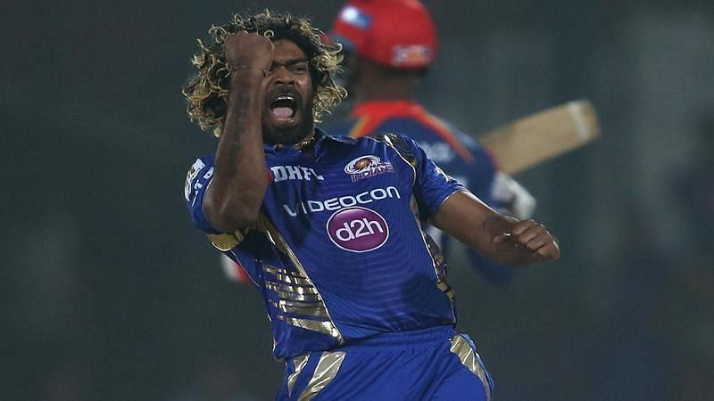Lasith Malinga celebrates after taking a wicket Enter caption
