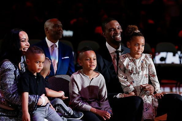 The Miami Heat honored Chris Bosh by raising his No.1 jersey to the rafters