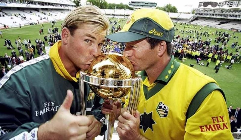 Shane Warne and Steve Waugh after the 1999 World Cup win