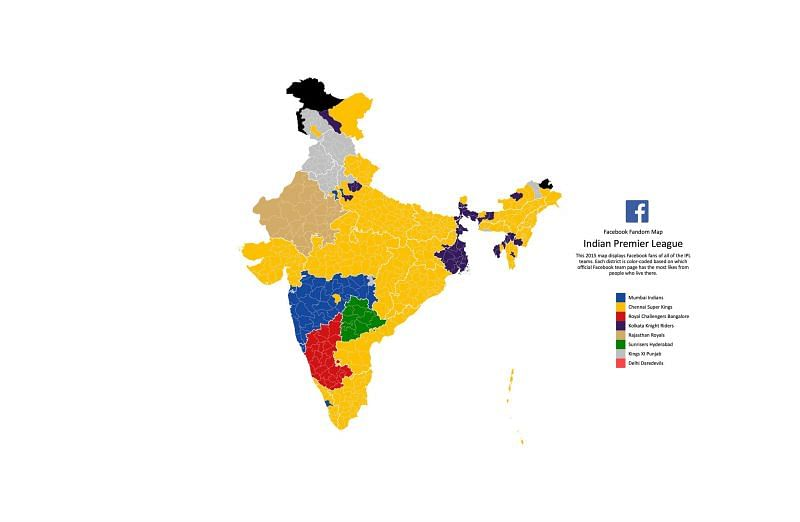 IPL 2015 fandom map released by Facebook M S Dhoni, during the practice session at Chepauk last Sunday.