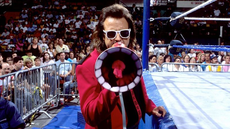 Jimmy Hart was known for his megaphone. When he brought a motorcycle helmet to the ring, the writing was on the wall.