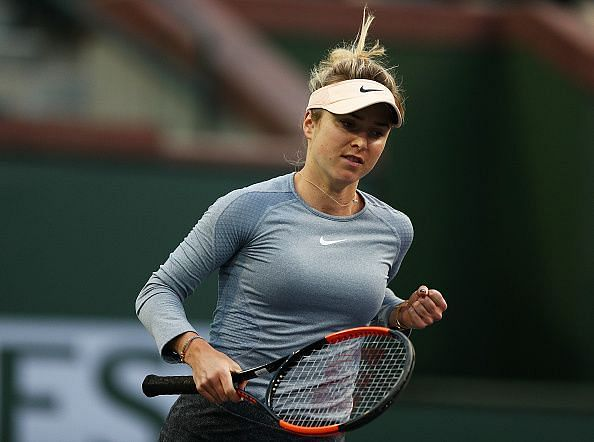 Elina Svitolina clenches her first during a point won against Daria Gavrilova at the BNP Paribas Open