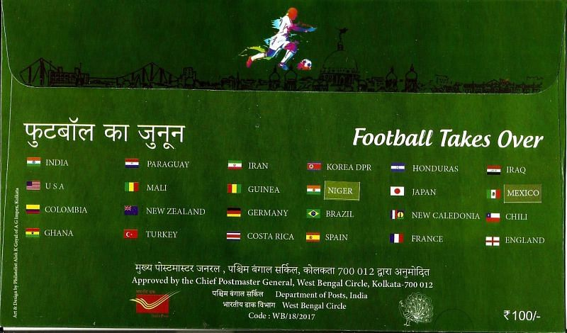 SPECIAL COVER RELEASED IN KOLKATA ON 2017 U-17 FIFA WORLD CUP SLOGAN FOOTBALL TAKES OVER