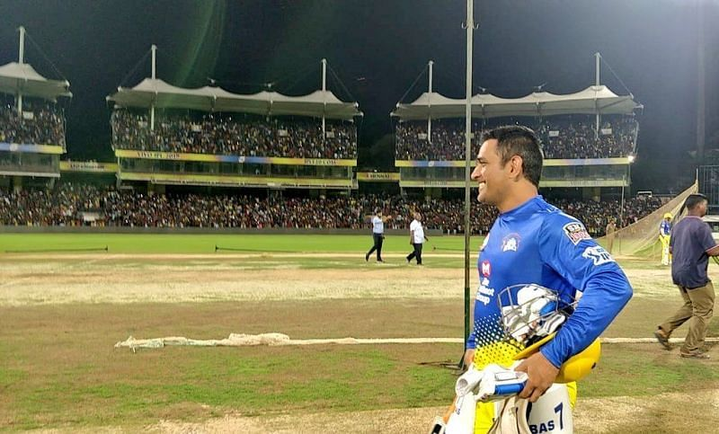 MS Dhoni during a practice session at Chepauk.