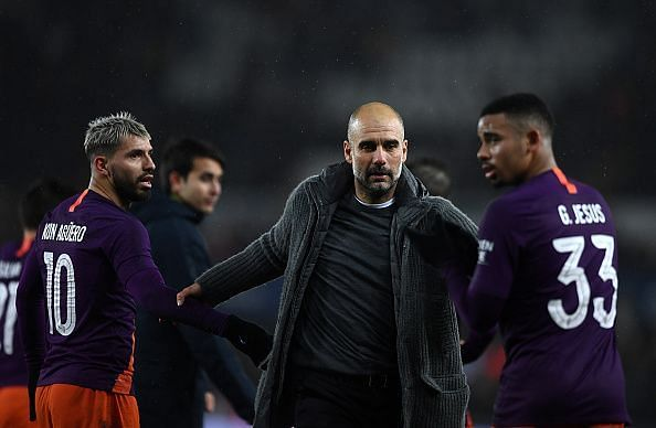 Manchester City looking to catch Liverpool.