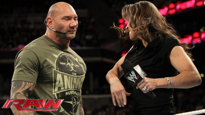 Batista and Stephanie have had scuffles in the past