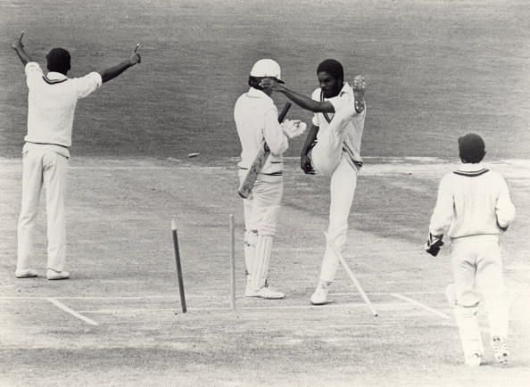 Michael Holding expresses dissent at an umpiring decision in the series