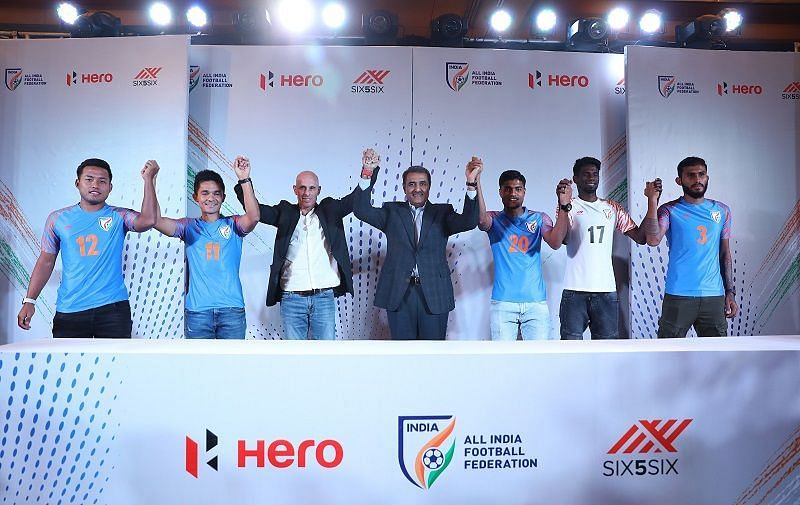 AIFF president Praful Patel (centre) with senior national team players and former coach Stephen Constantine