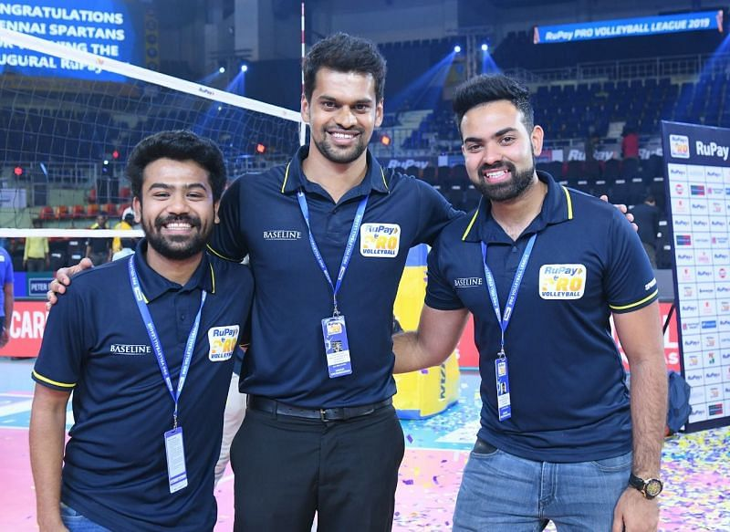 Vedant Shinde, Chirag Manjunath and Avnish Sistla at the Nehru Indoor Stadium in Chennai at the Inaugural RuPay Pro Volleyball League