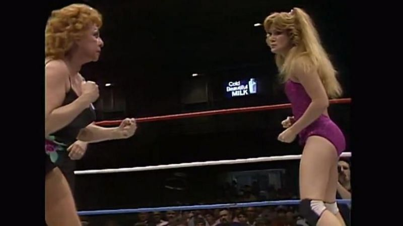 Fabulous Moolah squares off with Velvet McIntyre.