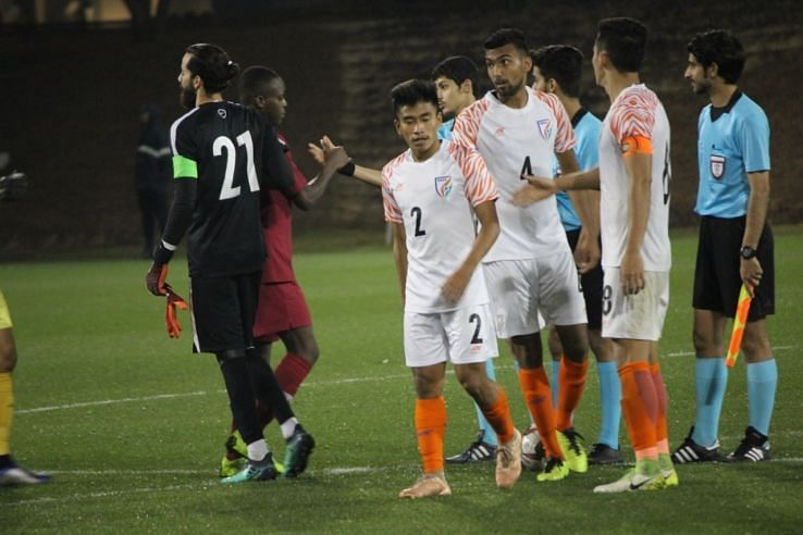 Players at the end of the India U-23 v Qatar U-23 friendly in Doha