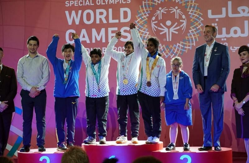 Indian athletes at the medal ceremony