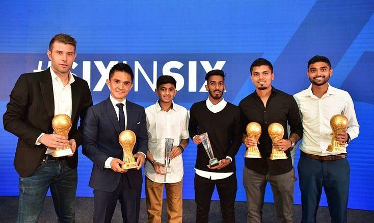 (From L to R) Juanan Gonzalez, Sunil Chhetri, Gautam Rajesh, Amay Morajkar, Rahul Bheke, Parag Shrivas