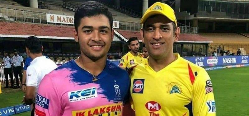 Riyan Parag with Dhoni