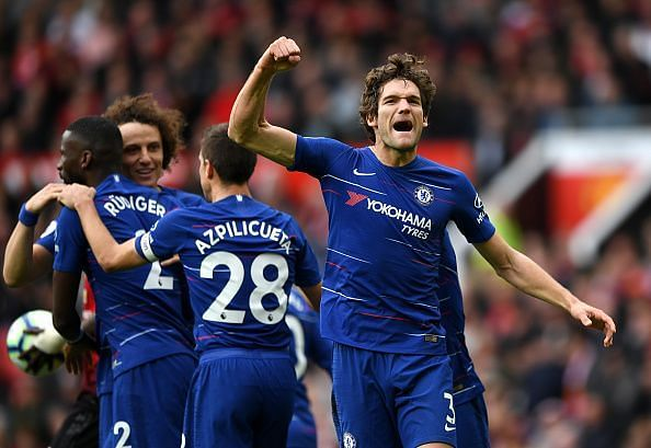 Alonso celebrates his unlikely equaliser against Manchester United before the half-time break